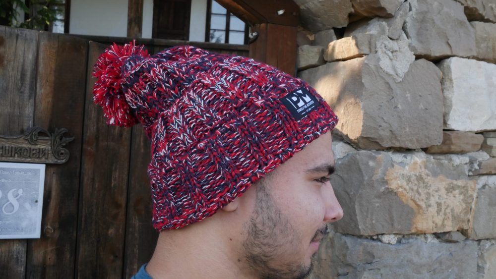PM Red Pom Winter Beanie Mans view