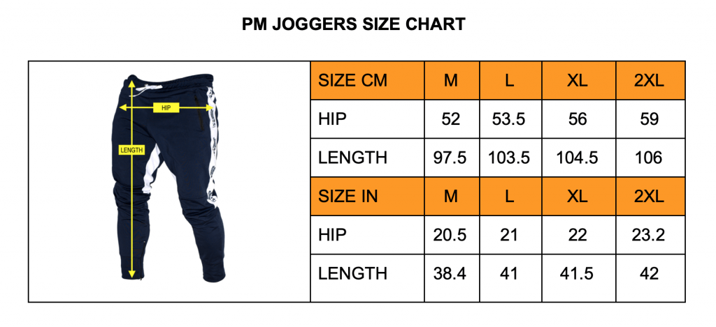 powerlifting motivation joggers size chart