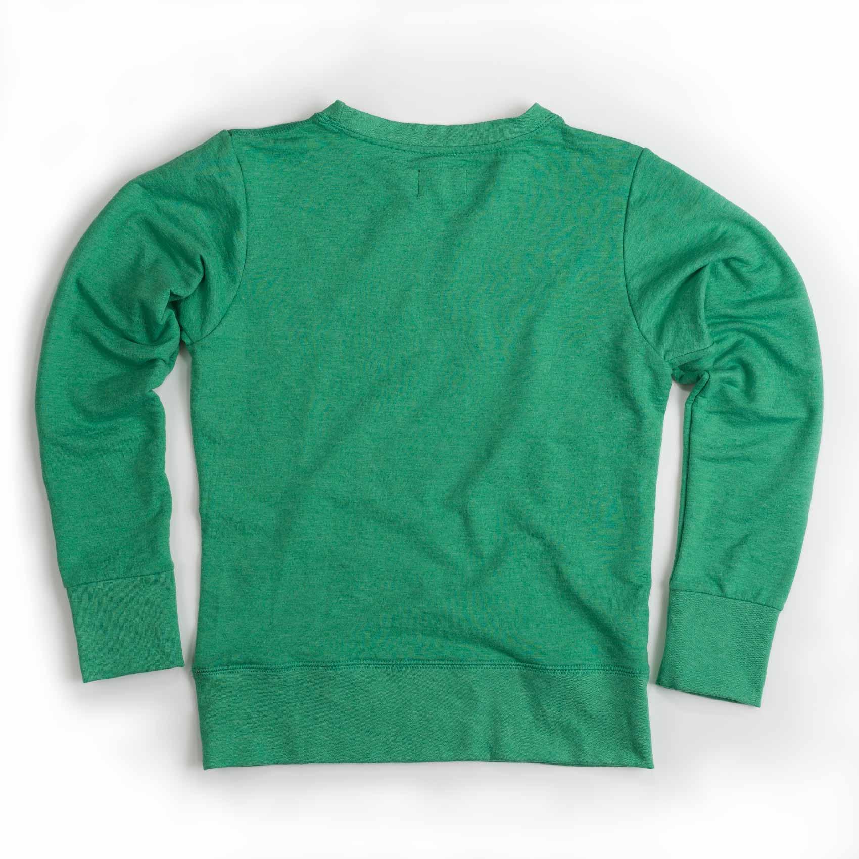 PM green sweatshirt back