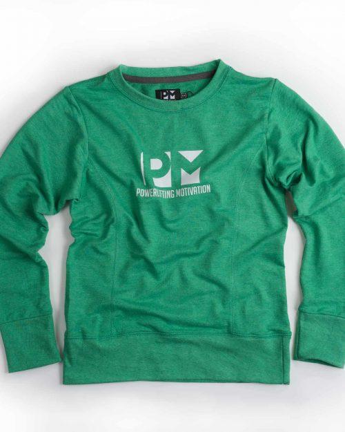 PM green sweatshirt front