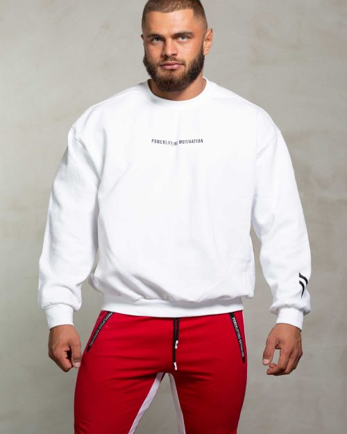 powerliftingmotivation white sweater front