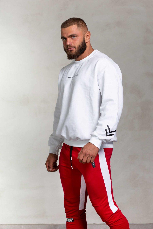 powerliftingmotivation white sweater side profile