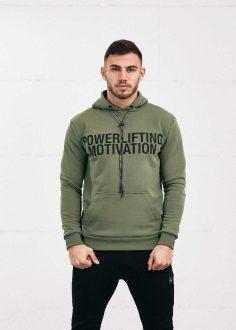 BOLD Powerlifting Motivation popover hoodie neon green hunter green
