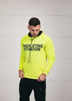 BOLD Powerlifting Motivation popover hoodie neon green