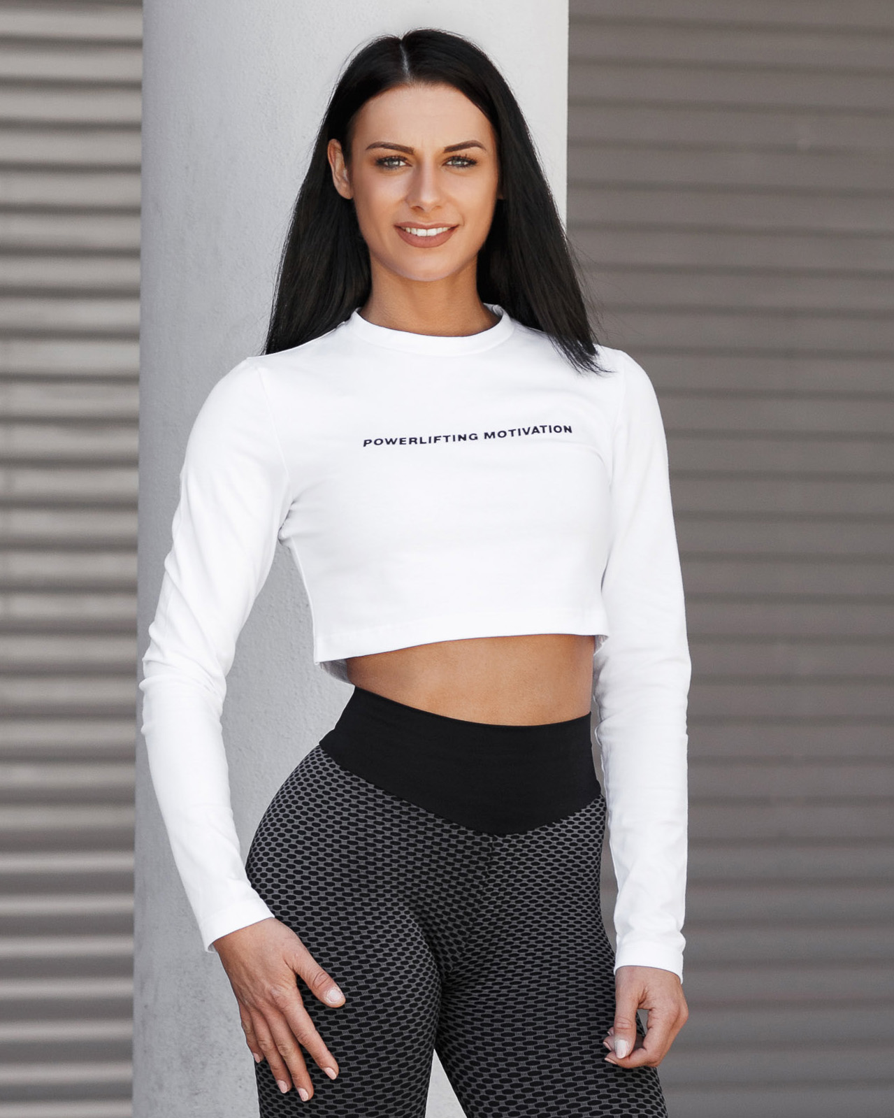 FLEX SPORTS LONG SLEEVE CROP TOP white front