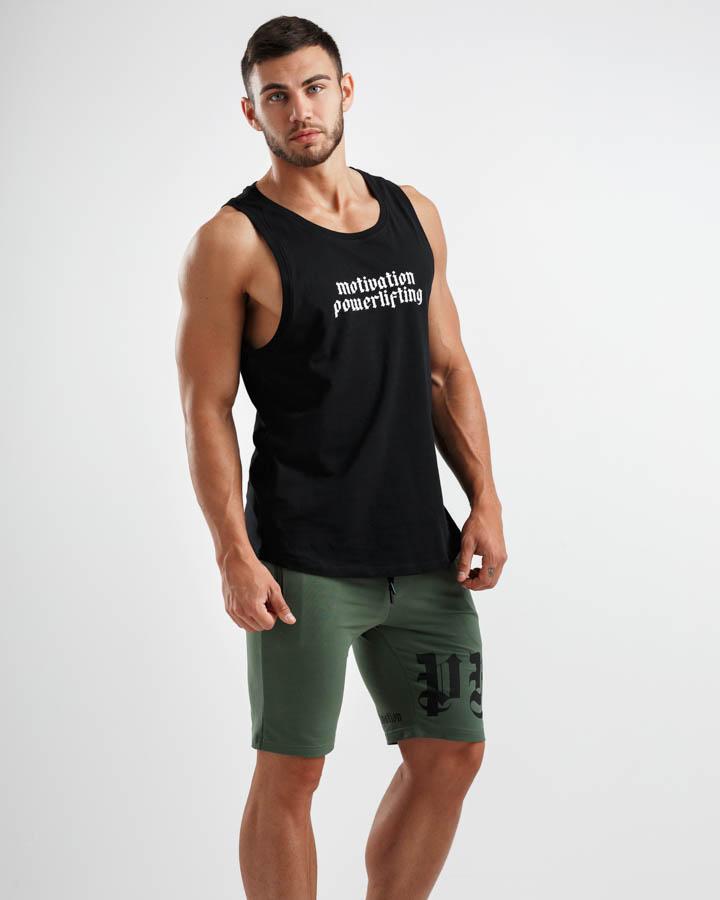 Hunter Green Shorts and Black tank top